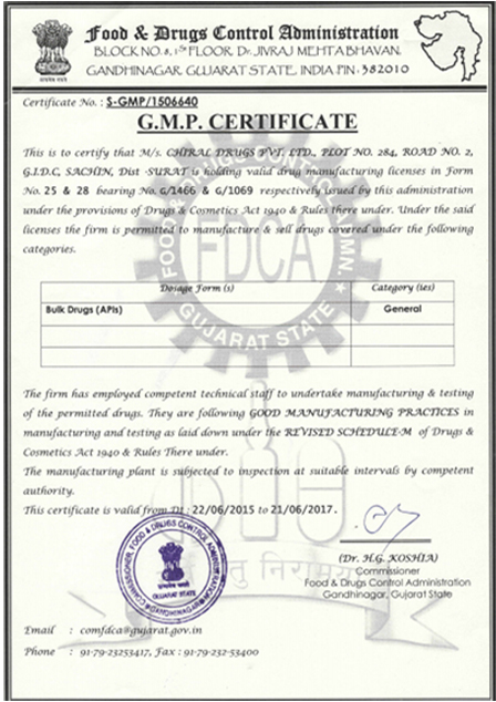 ISO, GMP certified pharmaceutical ingredient manufacturer